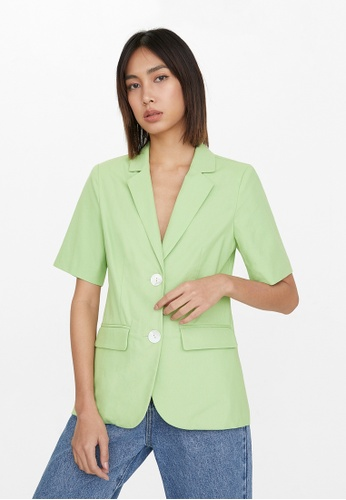 Buy Pomelo Double Button Short Sleeve Blazer - Green | ZALORA