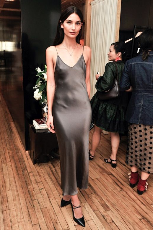 A Model-Approved Way To Wear A Silk Slip Dress To A Party   Le .