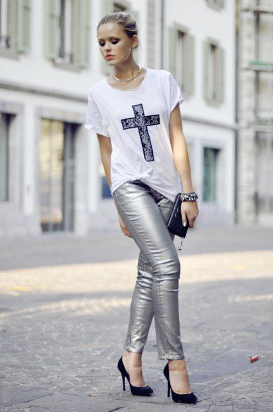 How to Wear Silver Pants: 15 Shiny Outfit Ideas for Women - FMag .