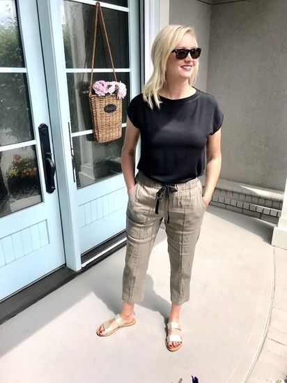 How To Wear Linen Pants/ Black Tee/ Olive Green Pants/ Silver .