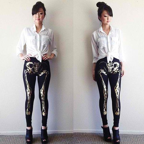 Skeleton Leggings - $42 Awesome! I wouldn't wear these, but they .