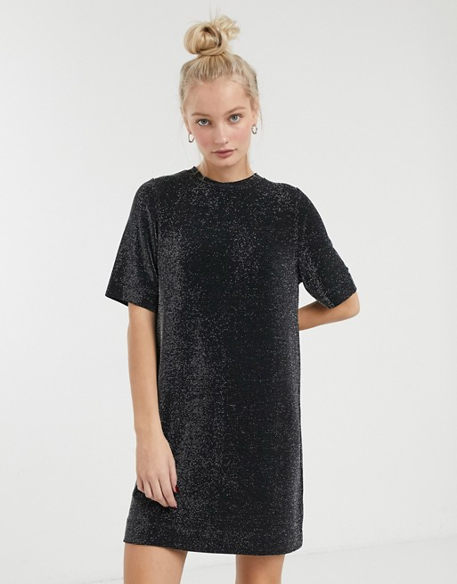 Monki sparkle t-shirt dress in black | AS