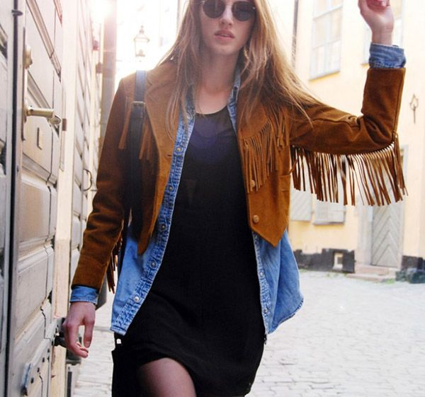 ways to wear brown suede fringe jacket - Google Search | Suede .
