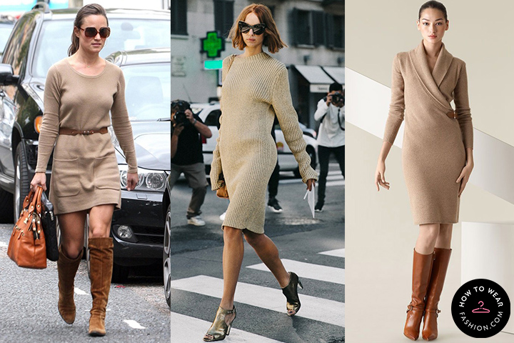 Tan sweater dresses | HOWTOWEAR Fashi