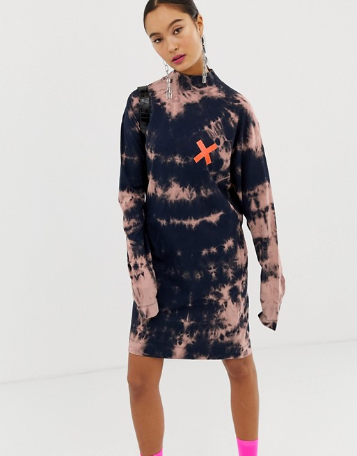 COLLUSION tie dye long sleeve t-shirt dress with back print | AS
