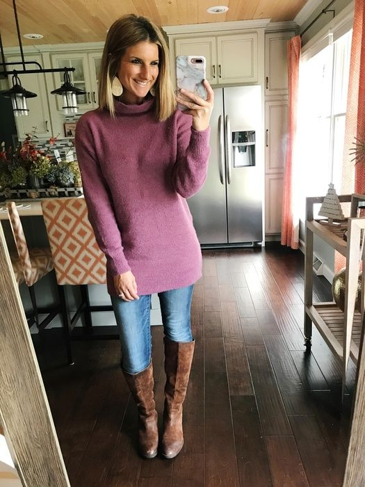 Turtleneck Tunic Sweater and Knee High Boots | Tunic sweater .
