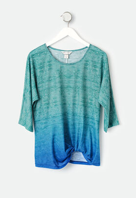 Ombre Mixed Print Twist Front Top - CBK Web Sto