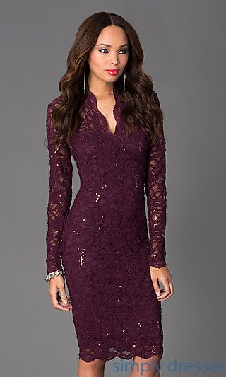 Jump Long-Sleeve Lace V-Neck Cocktail Dress | Long sleeve cocktail .
