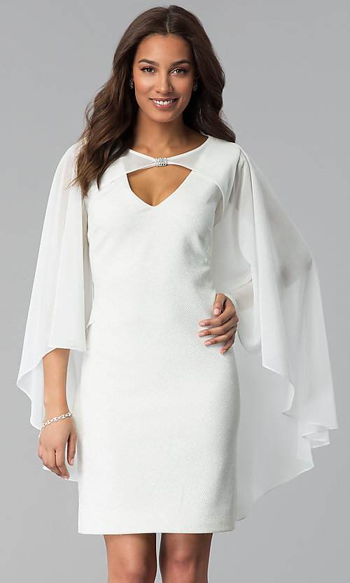 White Cocktail Dress with Attached Cape - PromGi