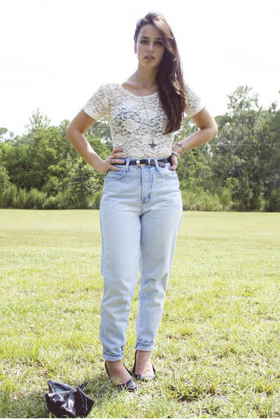 Light Blue High Waisted Vintage By Shevahh Jeans, Off White .