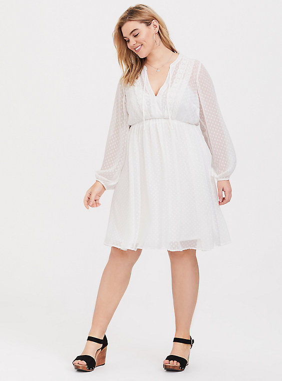 Plus Size - White Clip Dot Chiffon Babydoll Dress - Torr