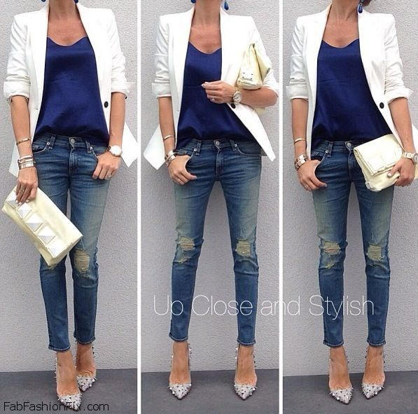 how to wear white blazer with ripped jeans | Fab Fashion F