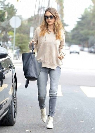 Women's Beige Crew-neck Sweater, Grey Skinny Jeans, White Leather .