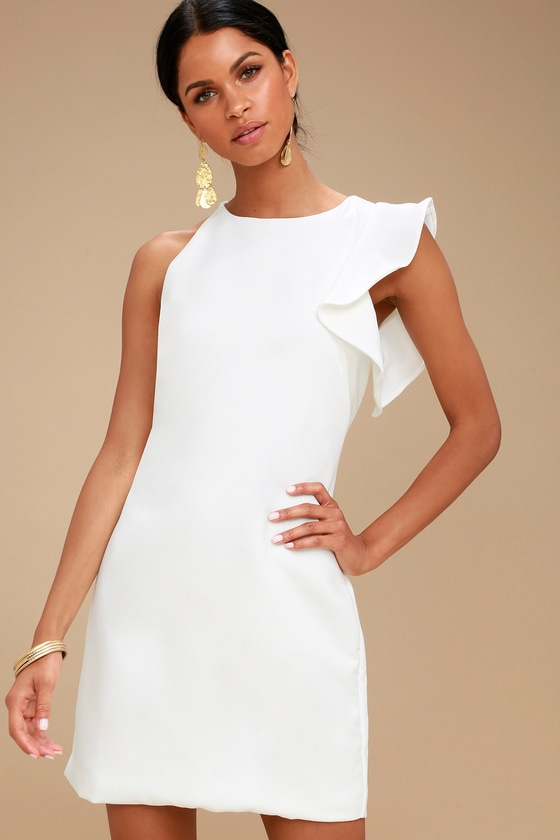 Fun White Dress - One-Shoulder Dress - Asymmetrical Dress - Lul