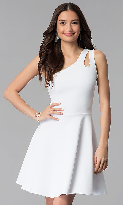 Short White One-Shoulder Graduation Dress - PromGi