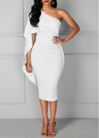 White Ruffle One Shoulder Bodycon Midi Dress Cocktail Party Dress .
