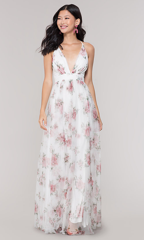 White V-Neck Long Floral-Print Prom Dress - PromGi
