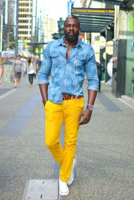 How To Wear Yellow Pants Men 41+ Ideas | Yellow jeans outfit .