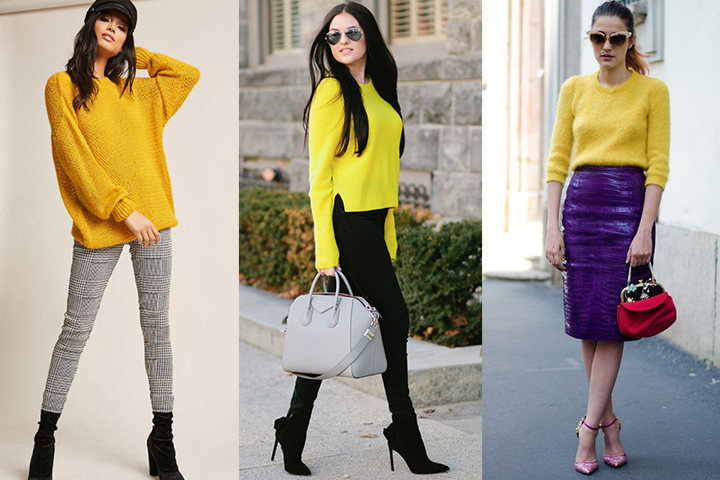 Yellow pullover sweaters | HOWTOWEAR Fashi