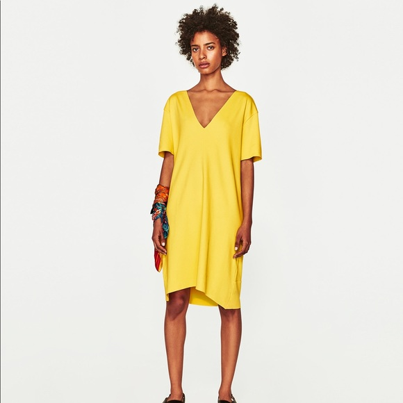 Zara Dresses | Nwt Yellow Tshirt Deep Vneck Dress | Poshma