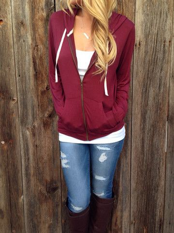Jersey Knit Zip-Up Hoodie | Outfits, Clothes, Casual outfi