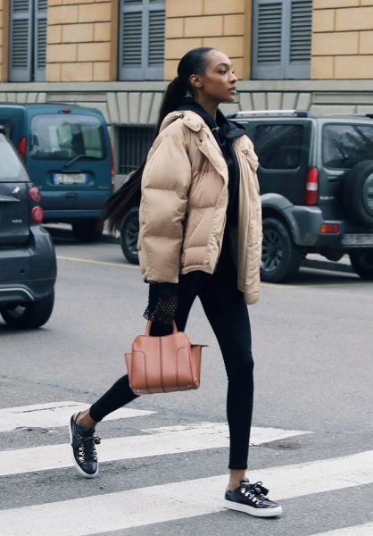 Ivory bubble coat with any black outfit