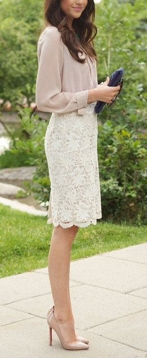 Ivory lace skirt for Sunday brunch. | Fashion, Style, Brunch outf