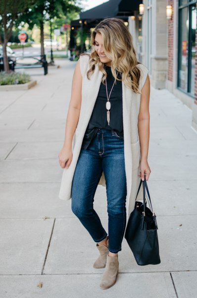 Ivory long vest navy sleeveless top