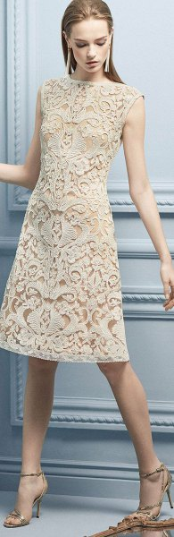 Sleeveless, knee-length lace dress with an open toe neck and open toe heels