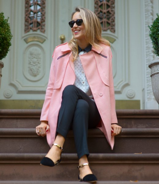 Ivory wool blazer with a polka dot blouse and black ballerinas with ankle straps