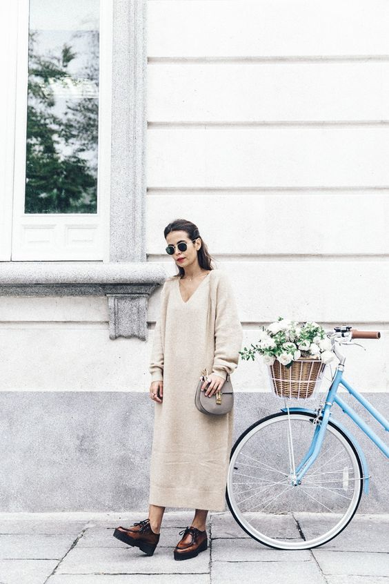Camel maxi sweater dress