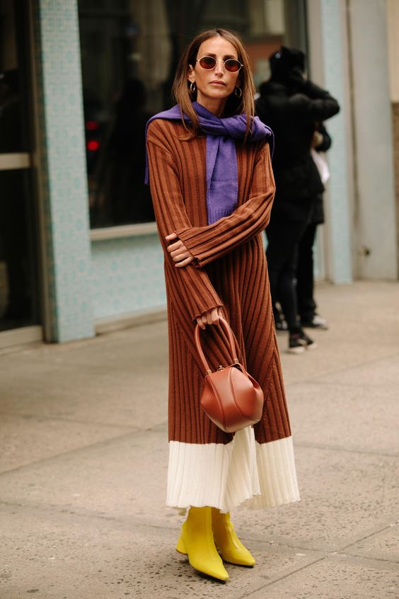 eccentric look of the sweater dress