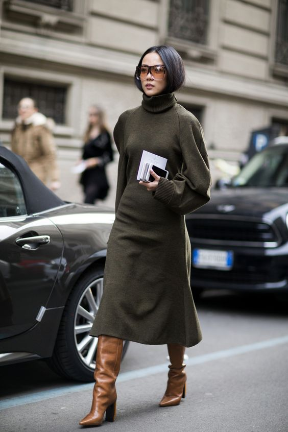Sweater dress olive brown