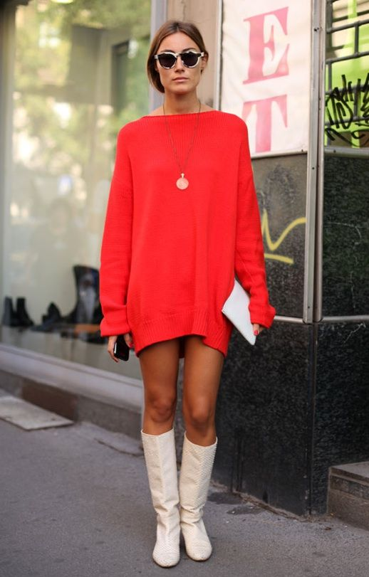 Sweater dress red white boots