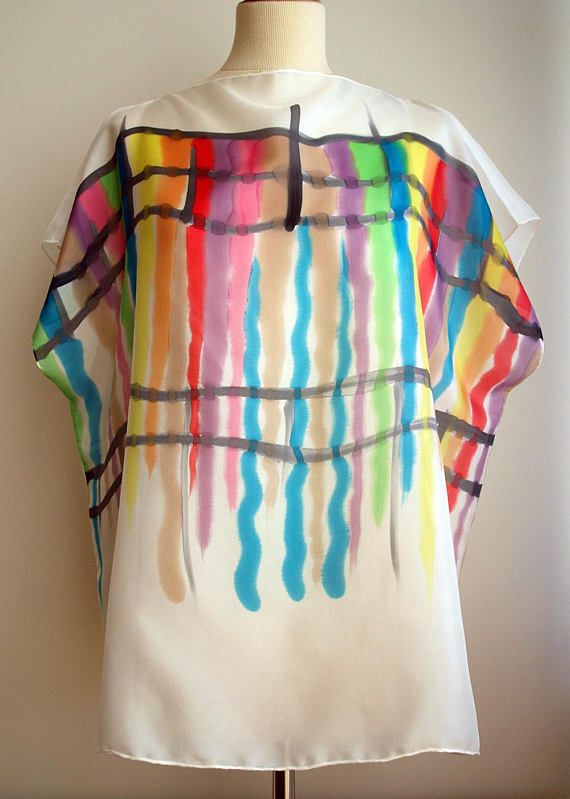 Silk blouse hand painted. Wedding blouse. Wedding silk top- Silk .