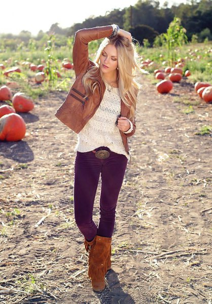 knee high fringed boots brown leather jacket