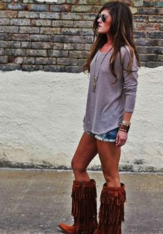 knee high fringed boots denim shorts outfit