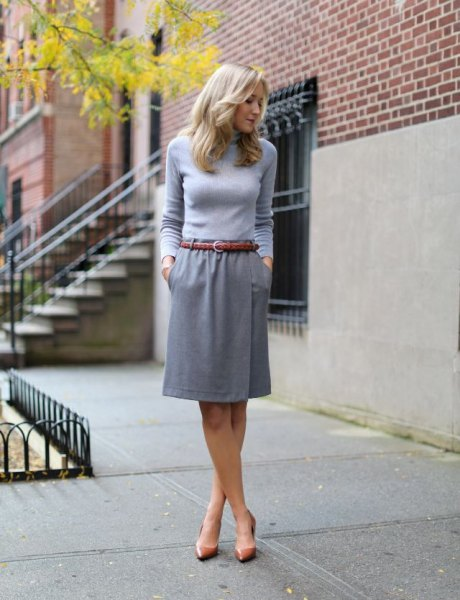 knee-length skirt gray bodycon sweater