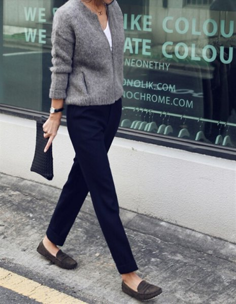 Knit sweater with black chinos and dark gray evening shoes