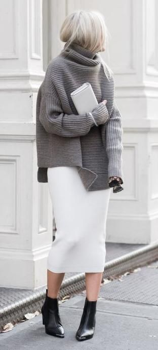 turtle neck knit. pencil midi skirt. | Fashion, Street style .