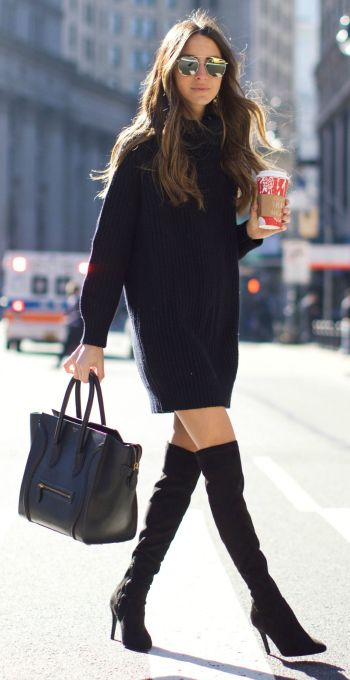 Arielle Nachami + couldn't look sleeker + all black outfit + .