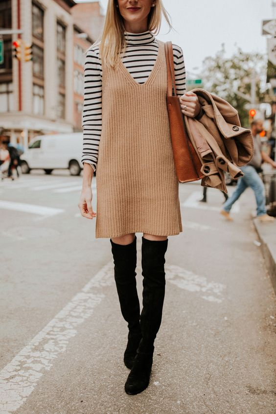 Knitted sweater dress apron