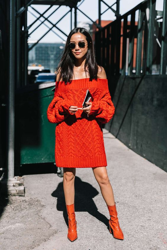 Red cable knit sweater dress