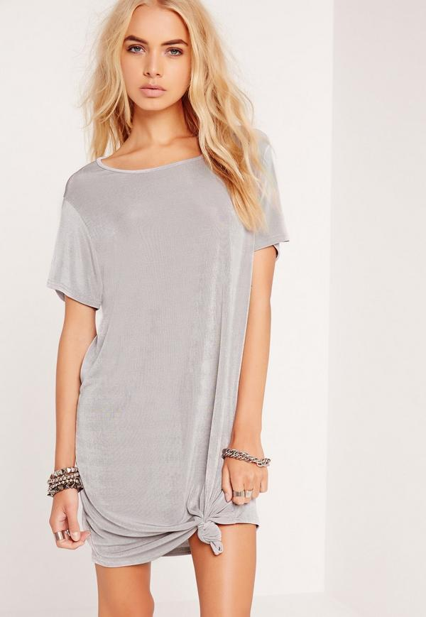 knotted t-shirt dress outfit