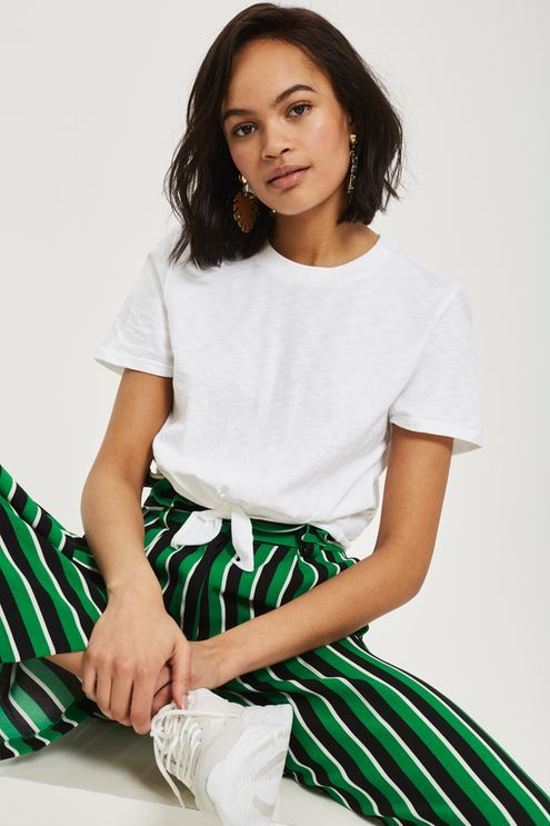 Knot Front T-Shirt | Knotted shirt outfit, Fashion, Tshirt outfi