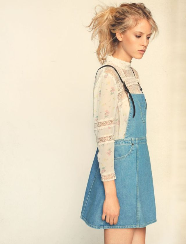 Lace skirt blouse denim overall skirt outfit