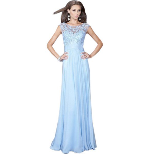 Floor-length chiffon dress with a lace fit and flare