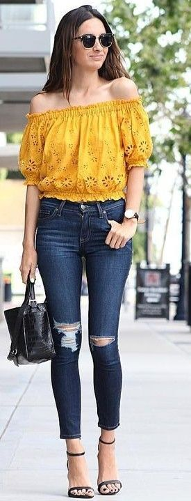 summer #stunning #outfitideas | Yellow Lace Off The Shoulder Top + .