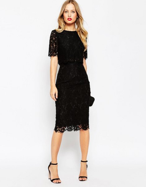 Lace midi dress with scalloped hem and open toe strap