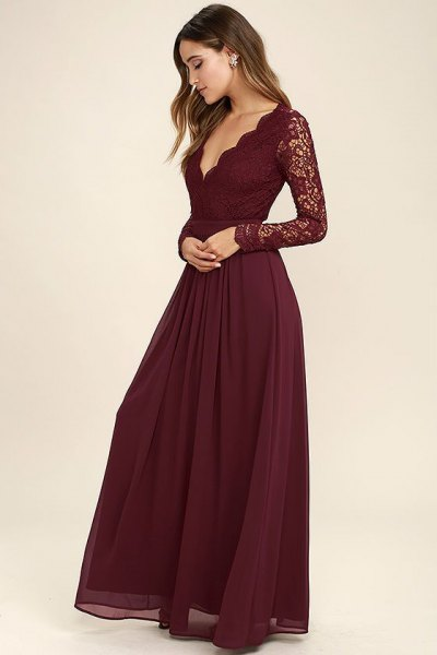 Lace sleeves scalloped deep chiffon dress with V-neck